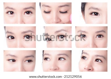 collection of beauty woman eyes with long eyelashes. asian beauty - stock photo