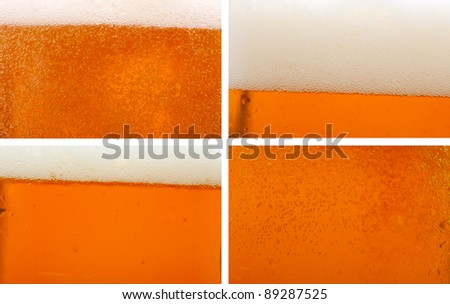 Collection of Beer Backgrounds - Closeup of Beer Bubbles in Glass