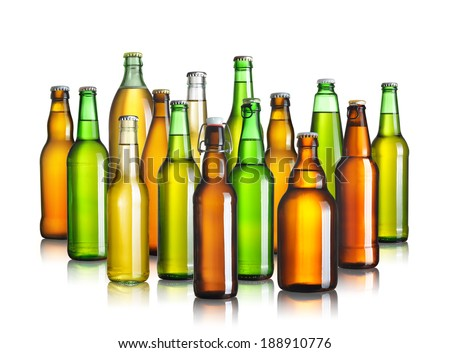 Collection of beer bottles without labels isolated on white - stock photo