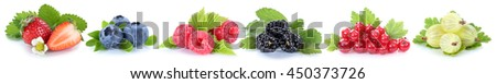 Collection of berries strawberries blueberries red currant berry fruits in a row isolated on a white background - stock photo