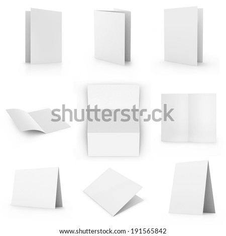 Collection of blank card, isolated on white - stock photo