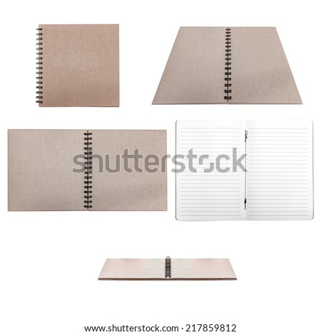 collection of blank opened recycled notebook and paper isolated on white background with clipping path  - stock photo
