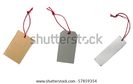 collection of blank price labels on white background. each one is in full camera resolution - stock photo