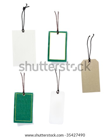 collection of blank price labels on white background. each one is in full cameras resolution