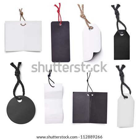 collection of blank price labels on white background. each one is shot separately