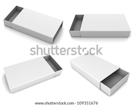 Collection of blank slide boxes on white background - stock photo
