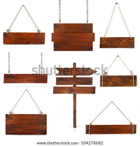 collection of blank wood sign boards with space for text isolated on white - stock photo