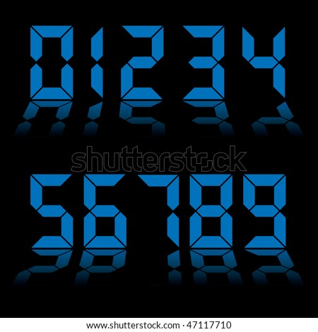 Collection of blue digital numbers as used on clocks and computers
