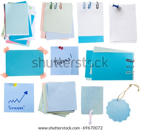 collection of blue paper notes and tags