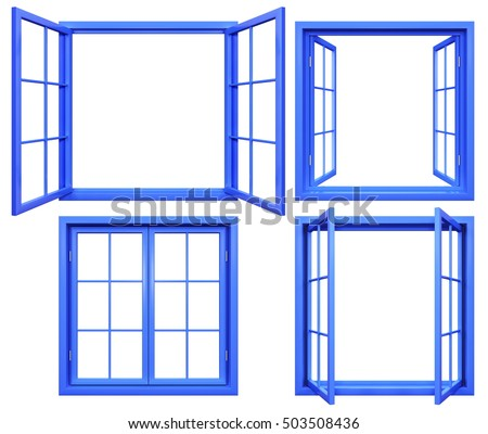 Collection of blue window frames isolated on white.3D rendering