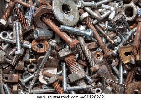 Collection of bolts and nuts