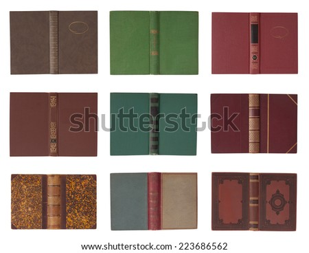 Collection of book covers with spine isolated on a white background - stock photo