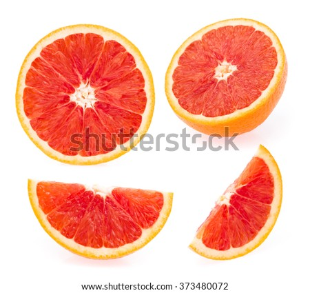 collection of bottle of  sliced orange fruit isolated on white background