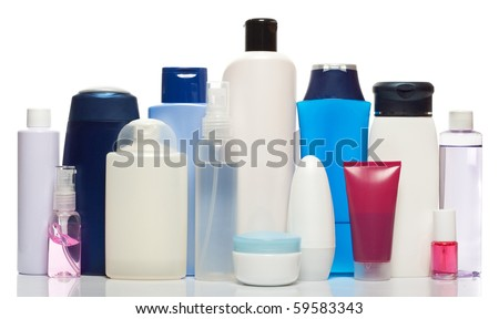 Collection of bottles of health and beauty products - stock photo