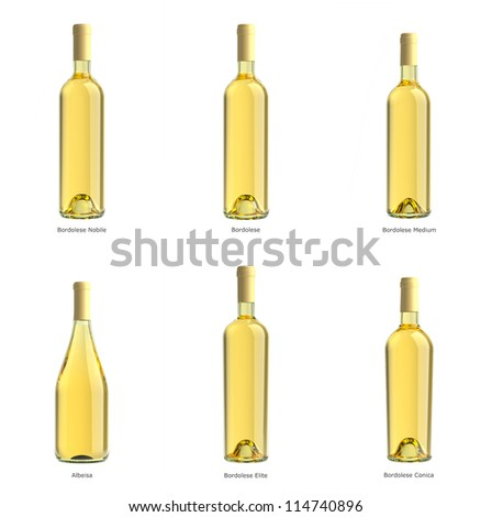 collection of bottles of white wine on a white background isolated.