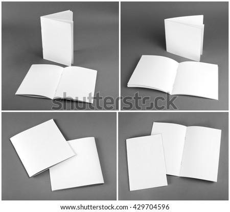 Collection of brochures on gray background
