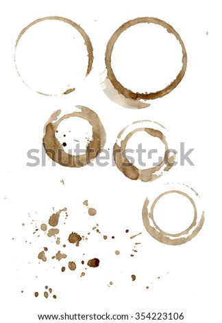 Collection of brown coffee cup stains and splatters isolated on white background