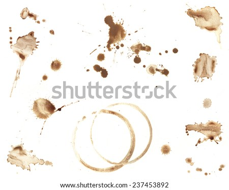 Collection of brown coffee stains and splatters isolated on white. - stock photo