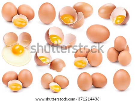 collection of brown eggs isolated on white - stock photo