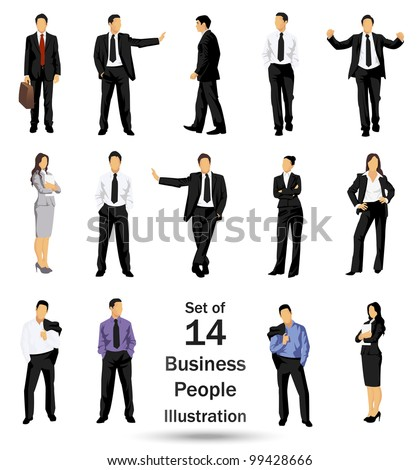 Collection of business people in different poses - JPG version of a vector illustration from my portfolio - stock photo