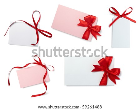 collection of  card note with  ribbon on white background. each one is in full camera resolution - stock photo
