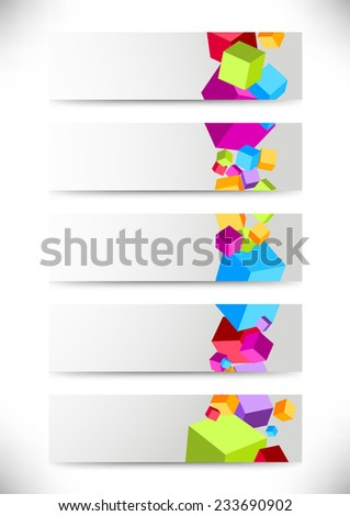 Collection of cards with colorful cubes - stock photo