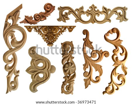 collection of carved decorative elements - stock photo