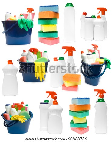 Collection of ceaning products on white background - stock photo