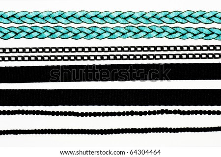 collection of chains and ropes on white background. - stock photo