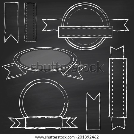Collection of Chalkboard Style Banners, Ribbons and Frames