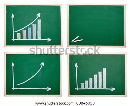 collection of chalkboards with finance business graph. each one is shot separately - stock photo