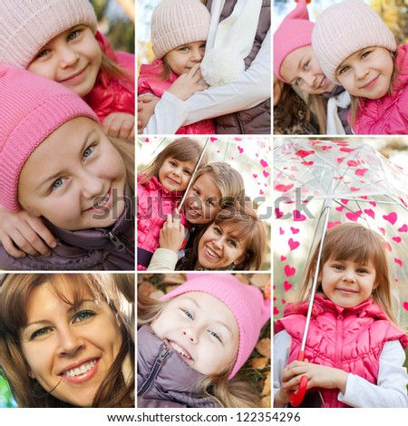 Collection of cheerful family while autumn  time - stock photo