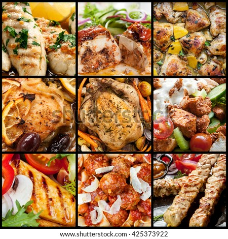 Collection of chicken meals, in closeup. - stock photo