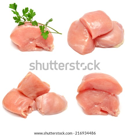 Collection of chicken with parsley isolated on white background - stock photo