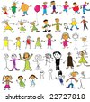Collection of child like colour drawings - stock vector
