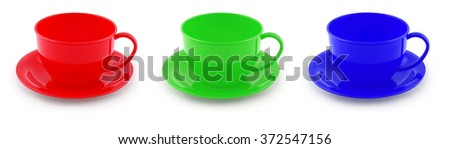 Collection of children's toys cups Clipping path inside. - stock photo