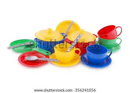Collection of children's ware on white. Clipping path included. - stock photo