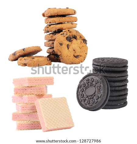 collection of chocolate chip cookies and a stack of wafers isolated on white background - stock photo