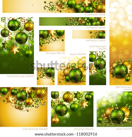 Collection of Christmas banners with baubles and place for text. Check my portfolio for vector version. - stock photo