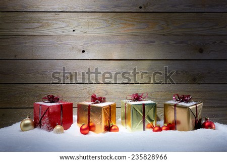 Collection of Christmas gifts - stock photo