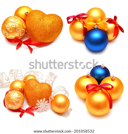 Collection of Christmas images isolated on white background - stock photo