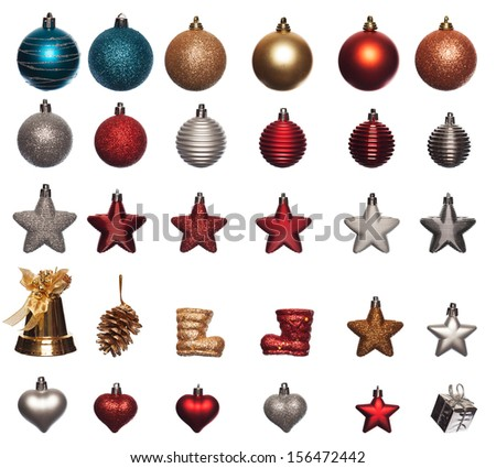 collection of christmas ornaments in various sizes and shapes isolated on white background - stock photo