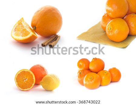 Collection of citrus fruits isolates on white - stock photo