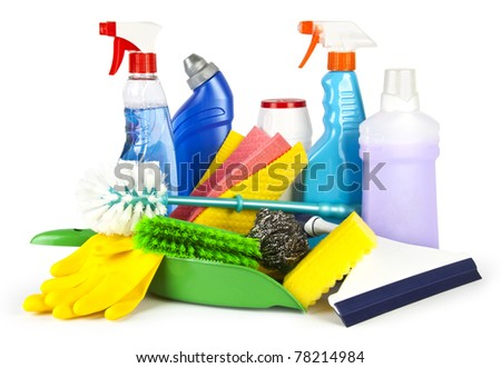 Collection of cleaning products and tools on white background - stock photo