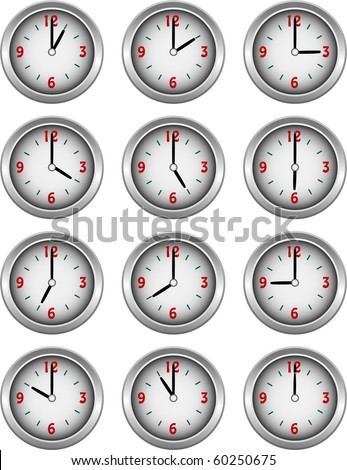 Collection of clocks showing each hour of the day illustration - stock photo