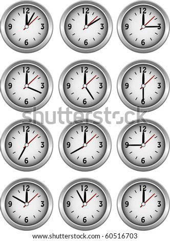 Collection of clocks showing each 5 minutes of the hour illustration - stock photo