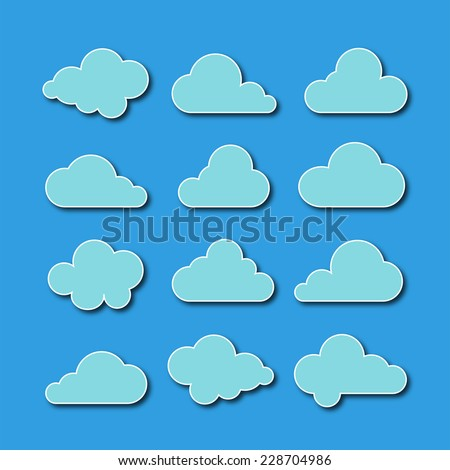 Collection of cloud icons - stock photo