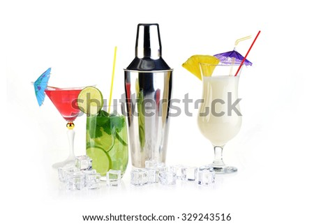 Collection of cocktail drinks in special goblets - stock photo