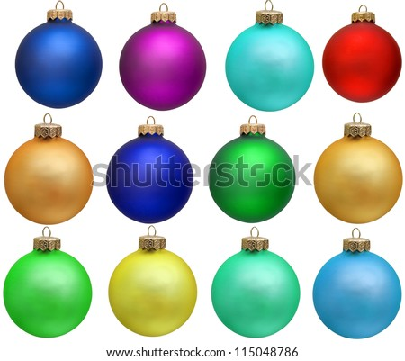 collection of colored christmas ball  new year ornament . Isolated over white. - stock photo