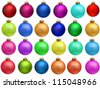 "collection of colored christmas ball. set ""christmas ornament"" . Isolated over white background. - stock photo"